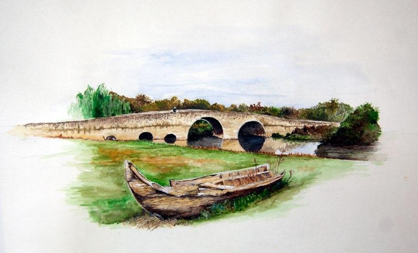 Aguarela da ponte romana no rio Alviela, Santarém